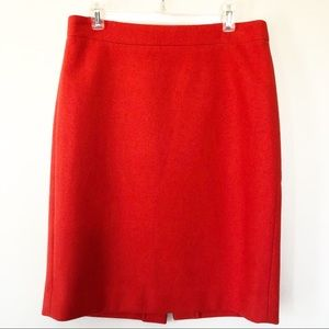 """J. Crew """"The Pencil Skirt"""" Red Wool Pencil Skirt"""